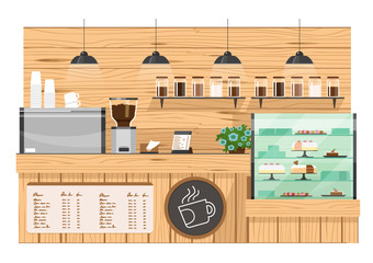 wooden Coffee bar, coffee shop counter vector illustration