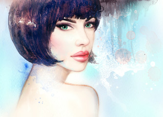 Wall Mural - Beautiful woman face. fashion  illustration