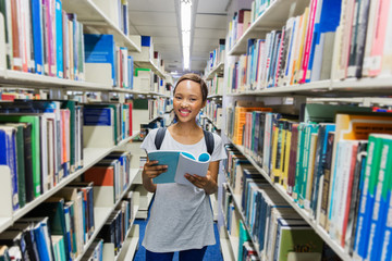 african american college girl in library