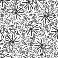 Doodle seamless waves pattern with flowers in vector. Zentangle coloring page. Creative background for textile, wrapping paper or book.