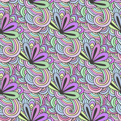 Doodle colorful pattern with flowers in vector. Zentangle coloring page. Creative seamless  background for textile, wrapping paper or coloring.