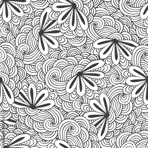 doodle seamless waves pattern with flowers in vector zentangle coloring page creative background for - Zentangle Coloring Book