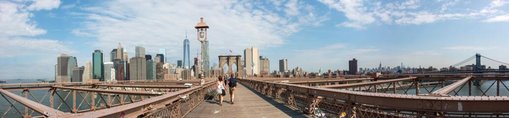 Panoramic View Brooklyn Bridge and Manhattan Skyline New York City