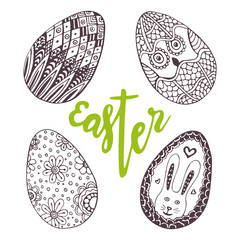 Easter eggs. Unique doodle set with lettering Easter. Holiday decoration for greeting card. Zentangle egg.