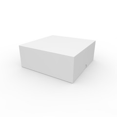 Closed white blank box. With a hole on the lid to open