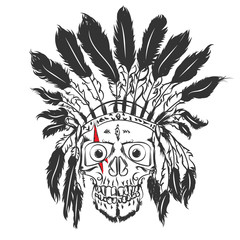 Handmade drawning Skull with indian feather hat. Grunge print template. Vector art.