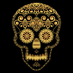 Gold ornamental sugar skull.