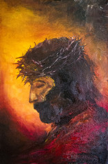 Painting of jesus christ before His death. Symbol of salvation, love and peace. Son of God. He was crucified by people in Jerusalem. Israel. Oil Painting. Portrait.