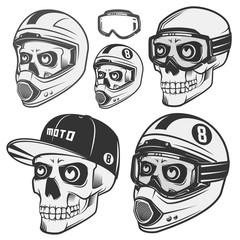 Set of skull helm biker and motosport