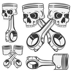 Set of skull piston for emblems,design tattoo,labels.