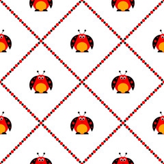 Seamless vector pattern with insects, symmetrical background with bright cute comic ladybugs, on the white backdrop with rhombus. Series of Animals and Insects Seamless Patterns.