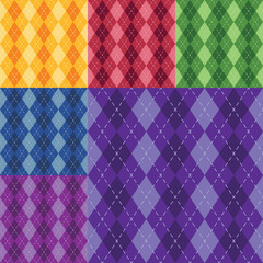 Vector argyle seamless pattern in six different colors. Easy editable.
