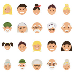 Set of twenty old age and youth avatar faces