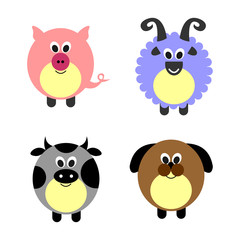 Set of vector illustrations of animals. Cute comic pig, sheep, cow and dog, isolated on the white background. Series of Animals Illustrations.