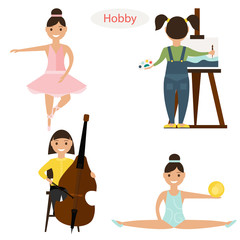 Set of girls hobbies