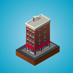 Isometric 3d residential building.
