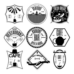 coffee shop, restaurant Set retro vintage badges