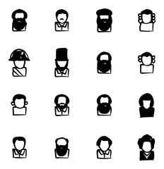 Avatar Icons Historical Figures Freehand Fill