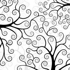Stylized trees on white background.