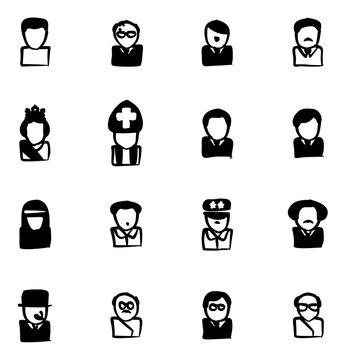 Avatar Icons 20th Century Historical Figures Freehand Fill