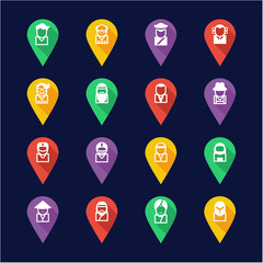 Avatar Icons Set 3 Flat Design Pin