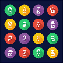 Avatar Icons Set 3 Flat Design Circle