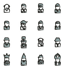 Avatar Icons Set 4 Freehand 2 Color