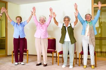 Happy enthusiastic group of senior women.