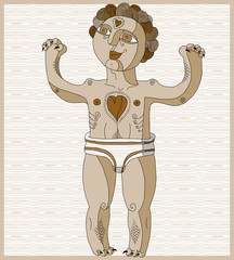 Vector lined illustration of nude man, Adam concept. Hand drawn