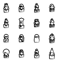 Avatar Icons Set 6 Freehand