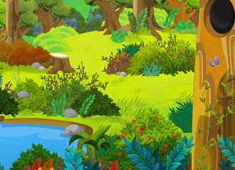 Cartoon forest - scene for different fairy tales - illustration for the children
