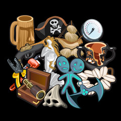 Set of pirate accessories, tools and toys