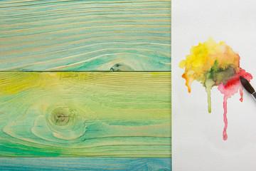 Artistic, artist, art. Used artist paintbrushes on wood background