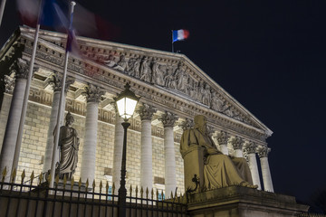 The National assembly at night, Paris,France.