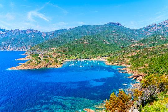 A view of beautiful Girolata bay with azure sea water, Corsica island, France