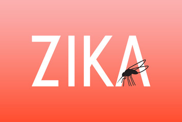 Zika text illustration with mosquito