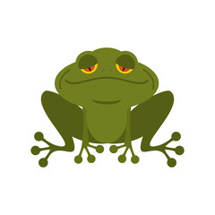 Frog. Green melancholy Toad. Cute freshwater with sad eyes. Mars