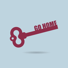 Go home. House key. Home key from door of apartment. Key logo fo