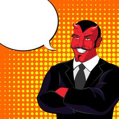 devil pop art. Red horned demonl and text bubble. Satan laughs.