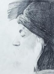 Drawing on paper ,Osho, zen budhistic guru.