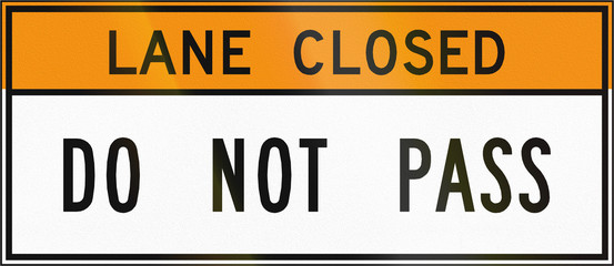 Road sign used in the US state of Virginia - Lane closed