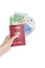 Russian international passport and cash Euro