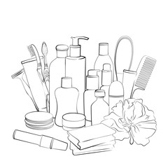 Hygiene set. Hand drawn collection of products for body care. Sketch of elements for bath or shower  isolated on white background. Black and white outline