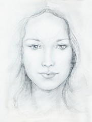 Zelfklevend Fotobehang Aquarel Gezicht Drawing portrait Young woman with ornament on face, black and white. Eye contact.
