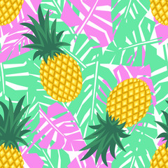 Pineapple with tropical leaves seamless pattern. Cute vector pineapple pattern. Summer fruit illustration. Bright fruits with palm leaves background. Green mint with pink jungle illustration.