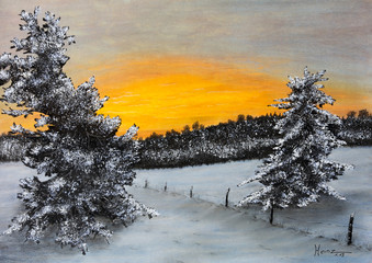 Pastellbild Winterlandschaft