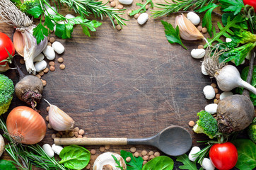 Culinary wooden background