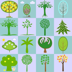 icons with different types of trees