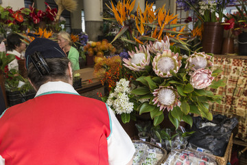 Funchal, Portugal - June 25: The florist dressed in traditional