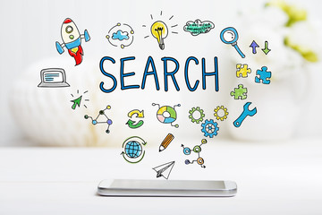 Search concept with smartphone